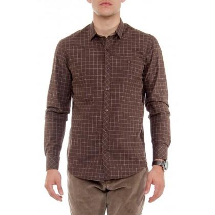 Мужская рубашка коричневая в клетку mr122