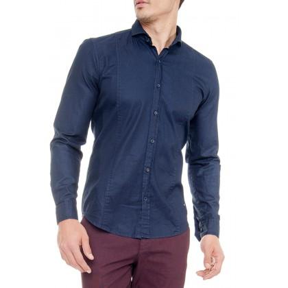 Рубашка мужская темно синяя mr119
